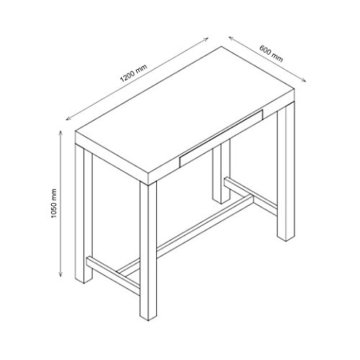 AC Design Furniture Bartisch Laura, B: 120 x T:60 x H: 105 cm, MDF, Weiss - 2