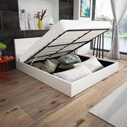 Anself Polsterbett Doppelbett Bett Ehebett aus Kunstleder mit Bettkasten 180x200cm ohne Matratze Weiß - 1