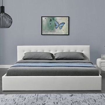 "ArtLife Polsterbett ""Marbella"" - 180 × 200 cm - Weiß - Bettgestell mit Lattenrost & Kunstleder - 3"