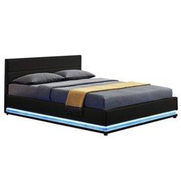 ArtLife Polsterbett Toulouse 140 x 200 cm mit rundum LED und Bettkasten - schwarz - 1