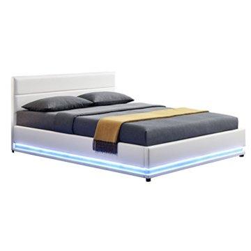 ArtLife Polsterbett Toulouse 140 x 200 cm mit rundum LED und Bettkasten - weiß - 1