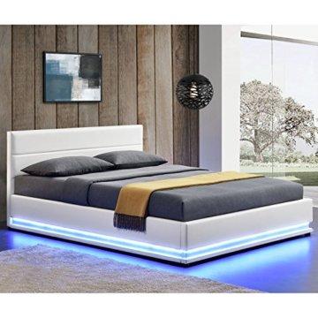 ArtLife Polsterbett Toulouse 140 x 200 cm mit rundum LED und Bettkasten - weiß - 2