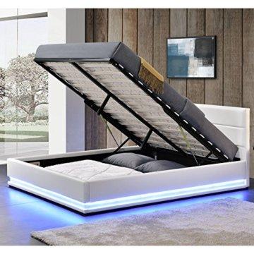 ArtLife Polsterbett Toulouse 140 x 200 cm mit rundum LED und Bettkasten - weiß - 3