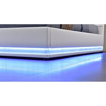 ArtLife Polsterbett Toulouse 140 x 200 cm mit rundum LED und Bettkasten - weiß - 4