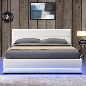 ArtLife Polsterbett Toulouse 140 x 200 cm mit rundum LED und Bettkasten - weiß - 6