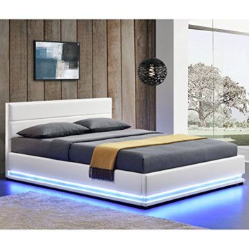 ArtLife Polsterbett Toulouse 180 x 200 cm mit rundum LED und Bettkasten - weiß - 2