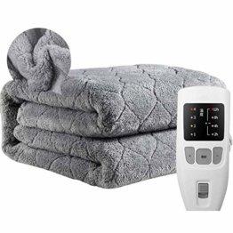 Authda Kuschelheizdecke Wärmeunterbett Abschaltautomatik Wasserdicht Flauschig Wärmedecke Heizdecken fürs Bett Timer Doppelbett Fernbedienung (200 x 180 cm, Grau) - 1