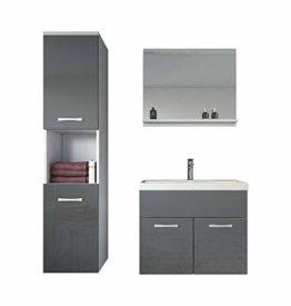 Badezimmer Badmöbel Set Montreal 60 cm Waschbecken Hochglanz Grau Fronten - Unterschrank Hochschrank Waschtisch Möbel - 1