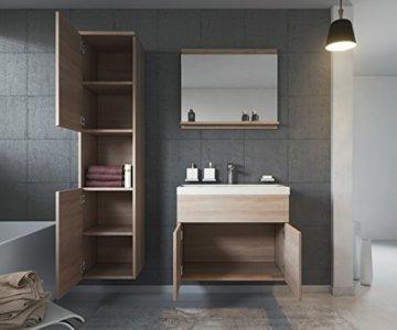 Badezimmer Badmöbel Set Montreal 60 cm Waschbecken Sonoma Eiche - Unterschrank Hochschrank Waschtisch Möbel - 2