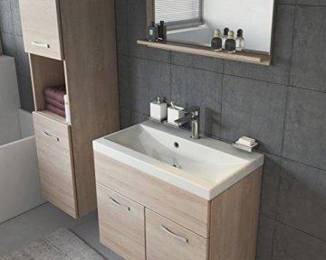 Badezimmer Badmöbel Set Montreal 60 cm Waschbecken Sonoma Eiche - Unterschrank Hochschrank Waschtisch Möbel - 3