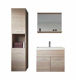 Badezimmer Badmöbel Set Montreal 60 cm Waschbecken Sonoma Eiche - Unterschrank Hochschrank Waschtisch Möbel - 1