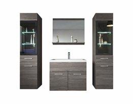 Badezimmer Badmöbel Set Rio XL LED 60 cm Waschbecken Bodega (Grau) - Unterschrank 2X Hochschrank Waschtisch Möbel - 1
