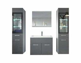 Badezimmer Badmöbel Set Rio XL LED 60 cm Waschbecken Hochglanz Grau Fronten - Unterschrank 2x Hochschrank Waschtisch Möbel - 1