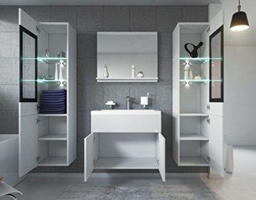Badezimmer Badmöbel Set Rio XL LED 60 cm Waschbecken Hochglanz Weiß Fronten - Unterschrank 2x Hochschrank Waschtisch Möbel - 2