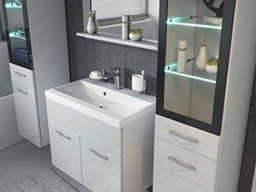 Badezimmer Badmöbel Set Rio XL LED 60 cm Waschbecken Hochglanz Weiß Fronten - Unterschrank 2x Hochschrank Waschtisch Möbel - 3