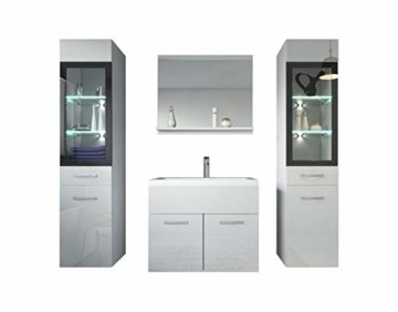 Badezimmer Badmöbel Set Rio XL LED 60 cm Waschbecken Hochglanz Weiß Fronten - Unterschrank 2x Hochschrank Waschtisch Möbel - 1
