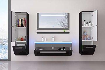 Badmöbel Set Badezimmermöbel Komplett Set Waschbeckenschrank mit Waschtisch Spiegel 2 hochschränke mit LED Hochglanz Fronten Schwarz 70 cm Vormontiert Homeline1 - 4