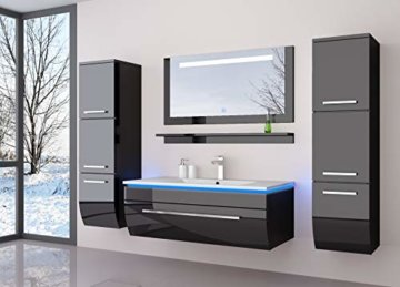Badmöbel Set Badezimmermöbel Komplett Set Waschbeckenschrank mit Waschtisch Spiegel 2 hochschränke mit LED Hochglanz Fronten Schwarz 70 cm Vormontiert Homeline1 - 1