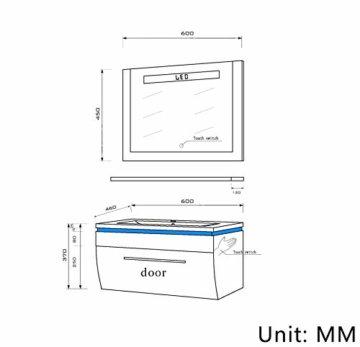 Badmöbel Set Badezimmermöbel Komplett Set Waschbeckenschrank mit Waschtisch Spiegel 2 hochschränke mit LED Hochglanz Fronten Schwarz 70 cm Vormontiert Homeline1 - 5