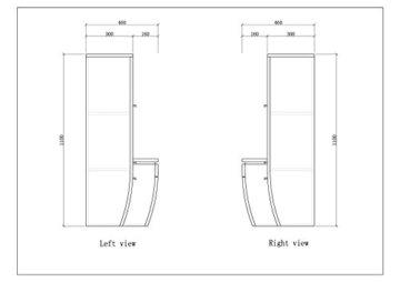 Badmöbel Set Badezimmermöbel Komplett Set Waschbeckenschrank mit Waschtisch Spiegel 2 hochschränke mit LED Hochglanz Fronten Schwarz 70 cm Vormontiert Homeline1 - 9