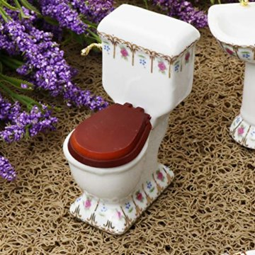 Baoblaze 4pcs Miniatur Weiße Badewanne, Toilette, Spüle, Spiegel Badezimmer Möbel Set für 1/12 Puppenhaus Bad Dekoration - # 2 - 2