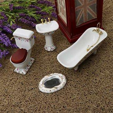 Baoblaze 4pcs Miniatur Weiße Badewanne, Toilette, Spüle, Spiegel Badezimmer Möbel Set für 1/12 Puppenhaus Bad Dekoration - # 2 - 3