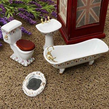 Baoblaze 4pcs Miniatur Weiße Badewanne, Toilette, Spüle, Spiegel Badezimmer Möbel Set für 1/12 Puppenhaus Bad Dekoration - # 2 - 4