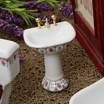 Baoblaze 4pcs Miniatur Weiße Badewanne, Toilette, Spüle, Spiegel Badezimmer Möbel Set für 1/12 Puppenhaus Bad Dekoration - # 2 - 6
