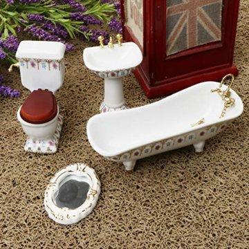 Baoblaze 4pcs Miniatur Weiße Badewanne, Toilette, Spüle, Spiegel Badezimmer Möbel Set für 1/12 Puppenhaus Bad Dekoration - # 2 - 9