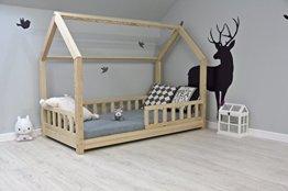 Best For Kids Kinderbett Kinderhaus mit Rausfallschutz Jugendbett Natur Haus Holz Bett mit oder ohne 10 cm Matratze viele Größen (80x180 cm mit Matratze) - 1