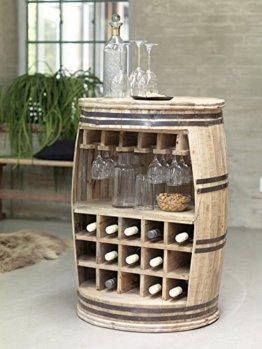 Canett Furniture Crazy Weinfass Weinregal Aus Holz Flaschenregal Fass Tisch/Bartisch/Theke, Holz, Natur, Geölt, 65 x 65 x 90 cm - 1