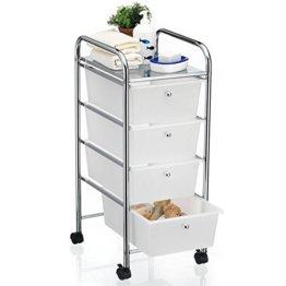 CARO-Möbel Bad Rollwagen SANO Rollcontainer Haushaltswagen Badtrolley Badregal aus verchromtem Metall mit 4 Schubladen - 1