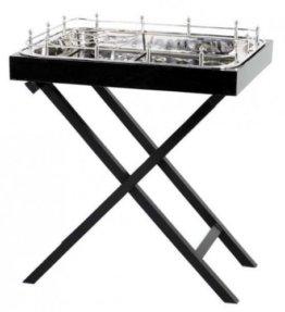Casa Padrino Designer Luxus Bar Tisch Schwarz Vernickeltes Metall - sehr edel - 1