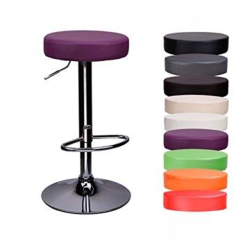 CCLIFE 1er/2er-Set Rund Barhocker Barstuhl ohne Lehne Höhenverstellbar Drehbar Kunstleder für Küche usw. 63-83 cm, Farbe:Lila, Größe:1er-Set - 1