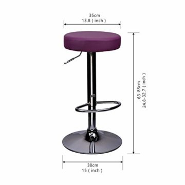 CCLIFE 1er/2er-Set Rund Barhocker Barstuhl ohne Lehne Höhenverstellbar Drehbar Kunstleder für Küche usw. 63-83 cm, Farbe:Lila, Größe:1er-Set - 6