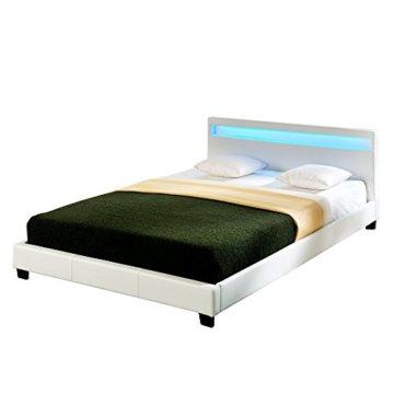 """Corium® LED Polsterbett """"Paris"""" - 140 x 200 cm - Weiß Kunstleder - mit Lattenrost und RGB Beleuchtung - 1"""