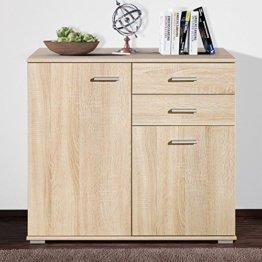 CSSchmal Sideboard mit 2 Türen 2 Schubladen Eiche Highboard Kommode Standschrank Mehrzweckschrank Anrichte Typ 90 - 1