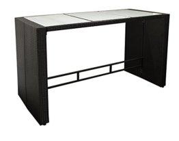 DEGAMO Bartisch DAVOS 185x80cm, Höhe 110cm, Metallgestell + Polyrattan schwarz, Tischplatte Glas - 1