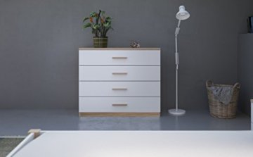demeyere Selena Kommode, Spanplatte, Sonoma Eiche/weiß, 100 x 41.6 x 84.7 cm - 4