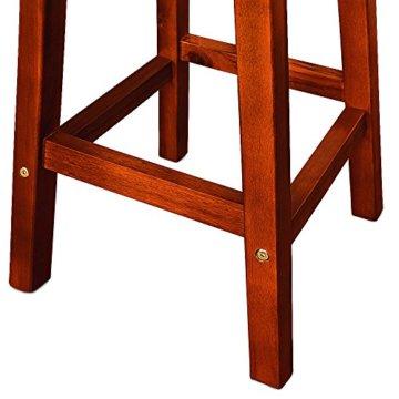 Deuba 2er Set Barhocker | massives Holzgestell | Akazienhartholz | praktische Fußablage | optimale Sitzhöhe 76cm, braun - Tresenhocker Barstuhl Küchenhocker Tresenstuhl Hocker Holz - 3
