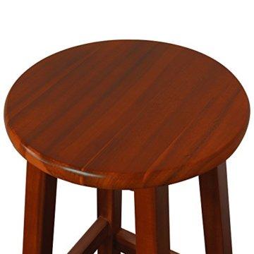 Deuba 2er Set Barhocker | massives Holzgestell | Akazienhartholz | praktische Fußablage | optimale Sitzhöhe 76cm, braun - Tresenhocker Barstuhl Küchenhocker Tresenstuhl Hocker Holz - 4
