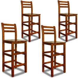 Deuba 4er Set Barhocker | mit Lehne | massives Holzgestell | Akazienhartholz | praktische Fußablage - Hocker Tresenstuhl Barstuhl Stuhl Holz Edel - 1
