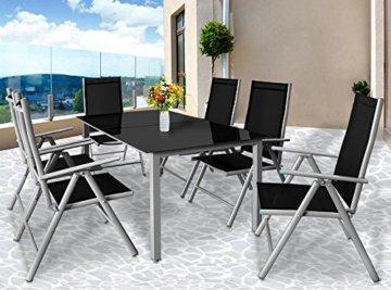 Deuba Aluminium Sitzgruppe 6+1 Silber | Verstellbare Stühle | Sicherheitsglas | Wetterfest [ Auswahl 4+1/6+1/8+1 ] - Alu Sitzgarnitur Garten Essgruppe Gartengarnitur Gartenmöbel Set - 2