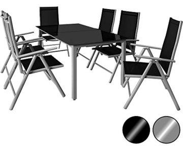 Deuba Aluminium Sitzgruppe 6+1 Silber | Verstellbare Stühle | Sicherheitsglas | Wetterfest [ Auswahl 4+1/6+1/8+1 ] - Alu Sitzgarnitur Garten Essgruppe Gartengarnitur Gartenmöbel Set - 1