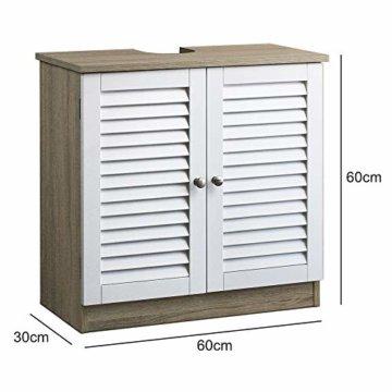 DEUBA Badmöbel Set mit Lamellentür Badezimmermöbel Waschbeckenunterschrank Unterschrank | braun/weiß | Magnetverschluss | Materialstärke: 15mm - 2