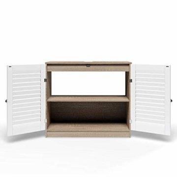 DEUBA Badmöbel Set mit Lamellentür Badezimmermöbel Waschbeckenunterschrank Unterschrank | braun/weiß | Magnetverschluss | Materialstärke: 15mm - 3
