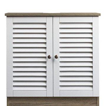 DEUBA Badmöbel Set mit Lamellentür Badezimmermöbel Waschbeckenunterschrank Unterschrank | braun/weiß | Magnetverschluss | Materialstärke: 15mm - 4