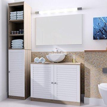 DEUBA Badmöbel Set mit Lamellentür Badezimmermöbel Waschbeckenunterschrank Unterschrank | braun/weiß | Magnetverschluss | Materialstärke: 15mm - 1