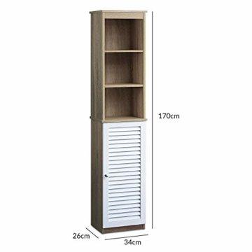DEUBA Badmöbel Set mit Lamellentür Badezimmermöbel Waschbeckenunterschrank Unterschrank | braun/weiß | Magnetverschluss | Materialstärke: 15mm - 5