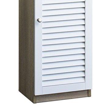 DEUBA Badmöbel Set mit Lamellentür Badezimmermöbel Waschbeckenunterschrank Unterschrank | braun/weiß | Magnetverschluss | Materialstärke: 15mm - 7